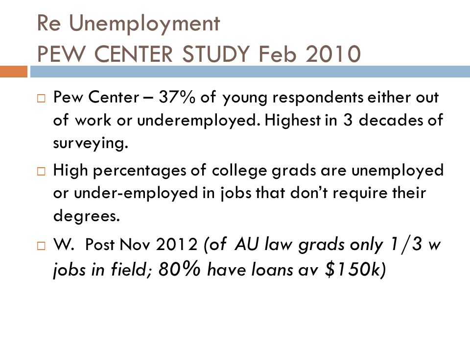 Re Unemployment PEW CENTER STUDY Feb 2010  Pew Center – 37% of young respondents either out of work or underemployed. Highest in 3 decades of surveyi