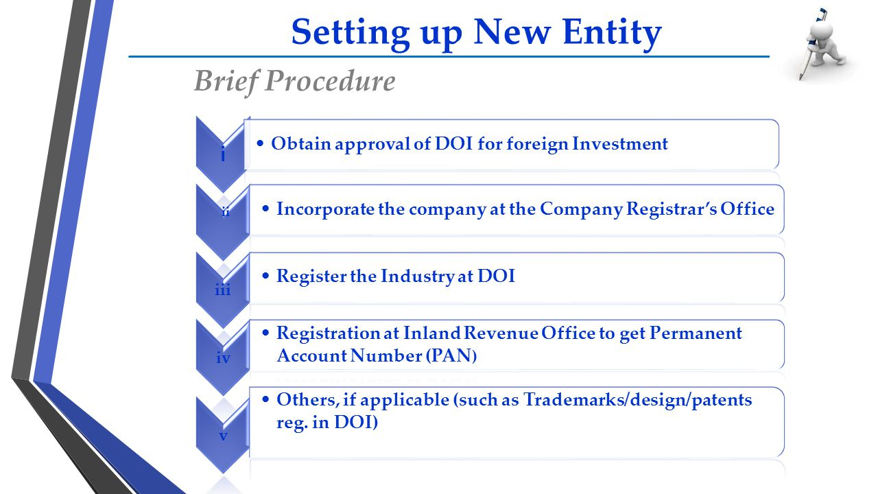 Setting up New Entity Brief Procedure i Obtain approval of DOI for foreign Investment ii Incorporate the company at the Company Registrar's Office iii
