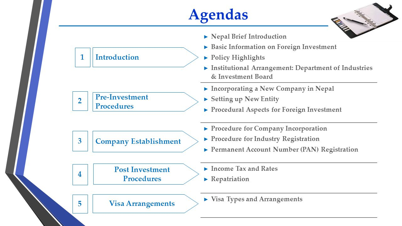 Agendas ► Nepal Brief Introduction ► Basic Information on Foreign Investment ► Policy Highlights ► Institutional Arrangement: Department of Industries