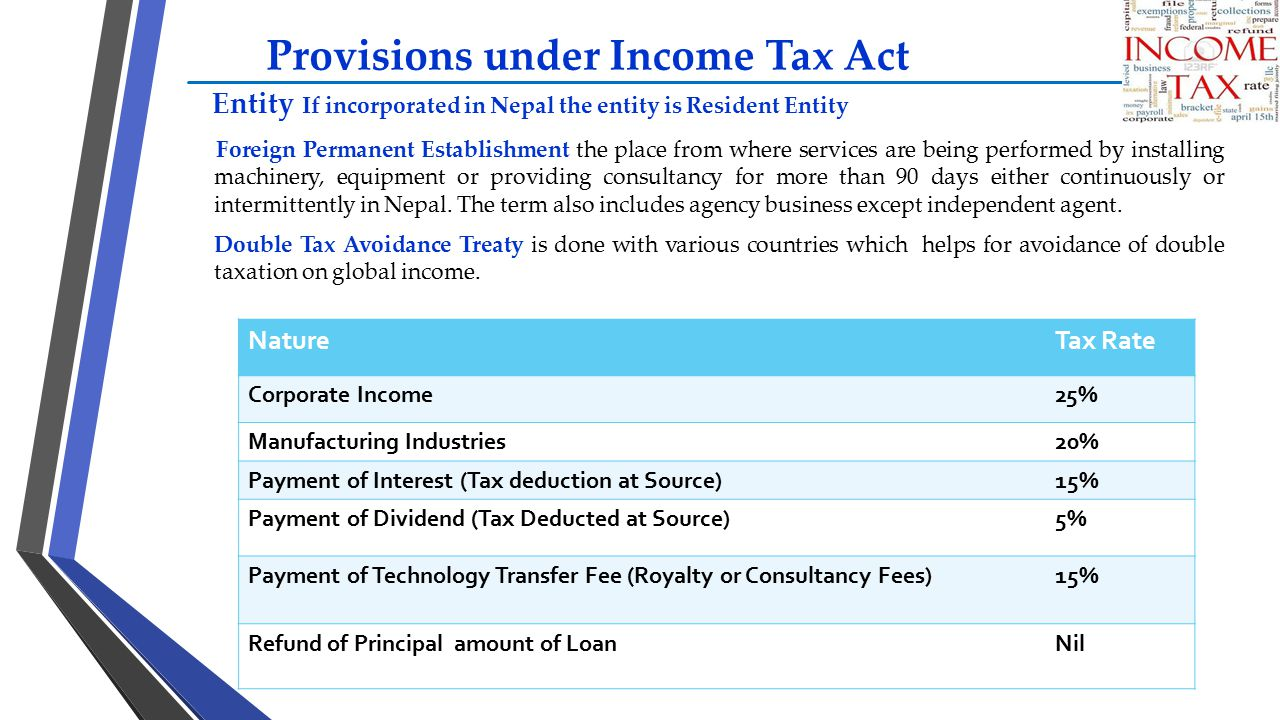 Provisions under Income Tax Act Entity If incorporated in Nepal the entity is Resident Entity Foreign Permanent Establishment the place from where ser