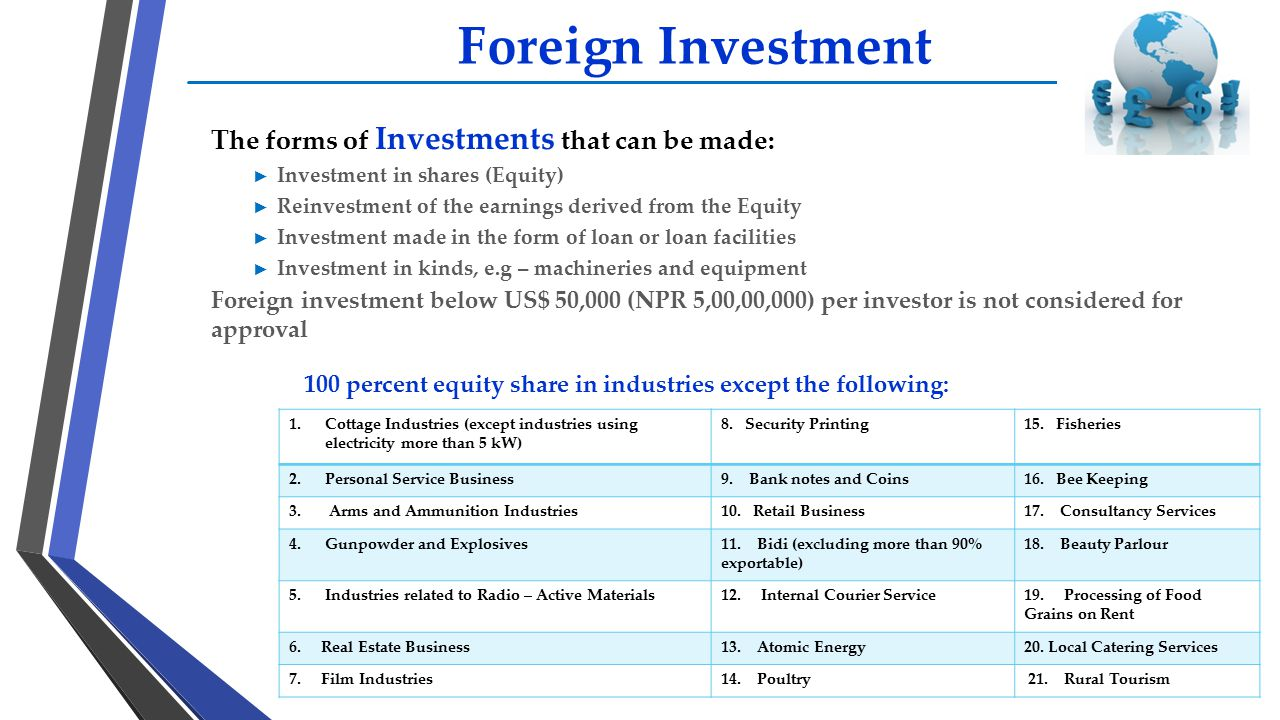 Foreign Investment The forms of Investments that can be made: ► Investment in shares (Equity) ► Reinvestment of the earnings derived from the Equity ►