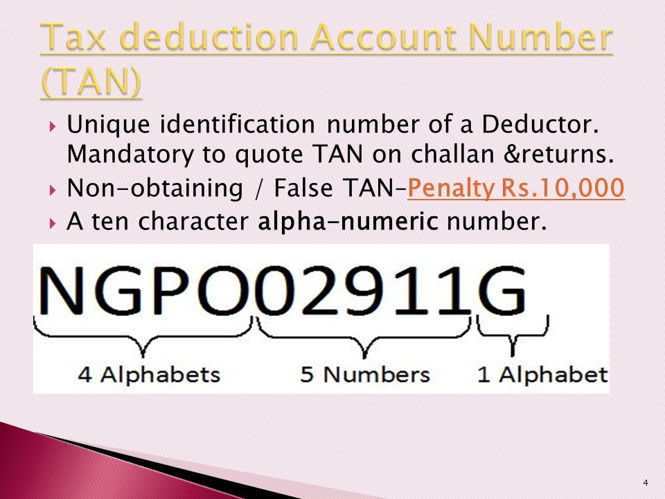  Unique identification number of a Deductor. Mandatory to quote TAN on challan &returns.  Non-obtaining / False TAN–Penalty Rs.10,000  A ten charac