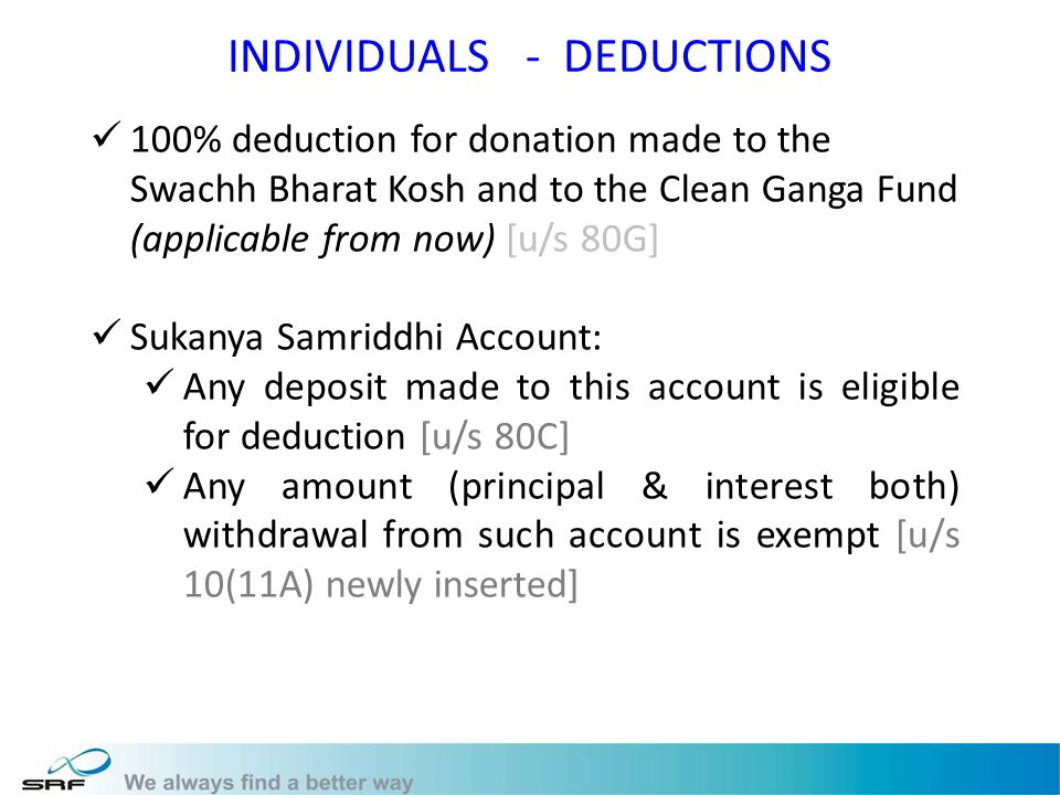 INDIVIDUALS - DEDUCTIONS 100% deduction for donation made to the Swachh Bharat Kosh and to the Clean Ganga Fund (applicable from now) [u/s 80G] Sukanya Samriddhi Account: Any deposit made to this account is eligible for deduction [u/s 80C] Any amount (principal & interest both) withdrawal from such account is exempt [u/s 10(11A) newly inserted]