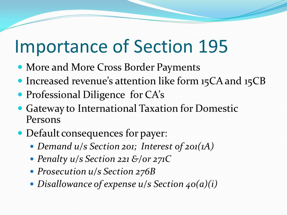 Revenue Payer and Payee Section 195 Chartered Accountants