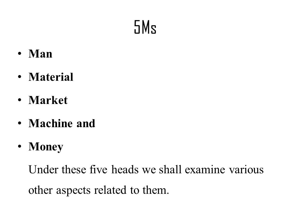 5Ms Man Material Market Machine and Money Under these five heads we shall examine various other aspects related to them.