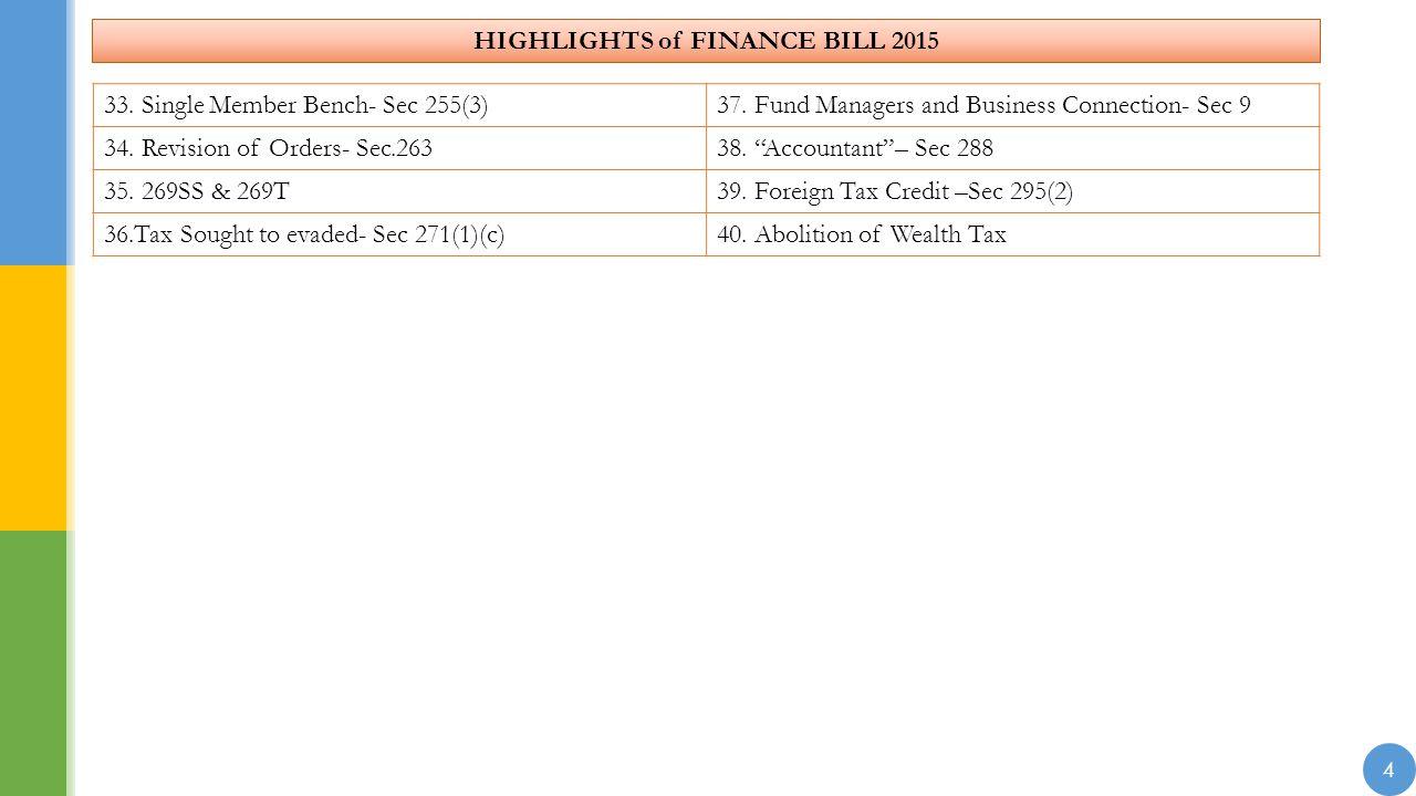 HIGHLIGHTS of FINANCE BILL 2015 4 33. Single Member Bench- Sec 255(3)37.