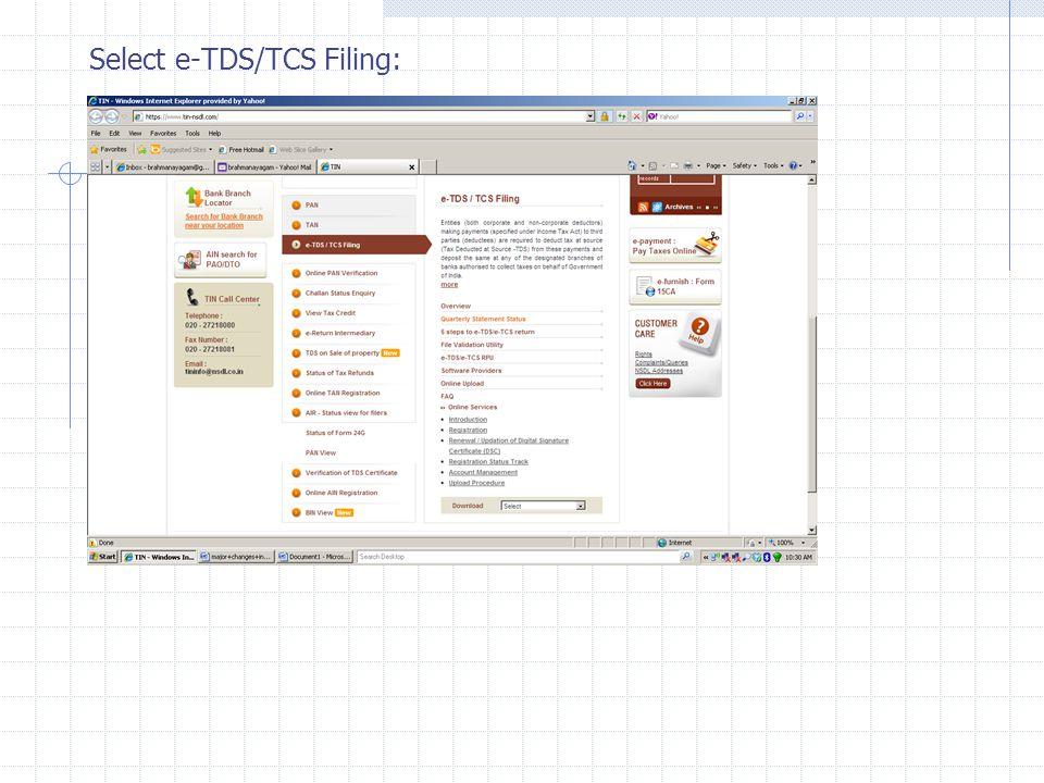 Select e-TDS/TCS Filing: