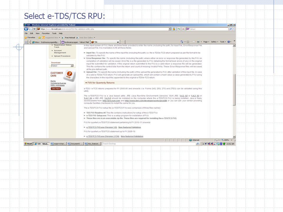 Select e-TDS/TCS RPU: