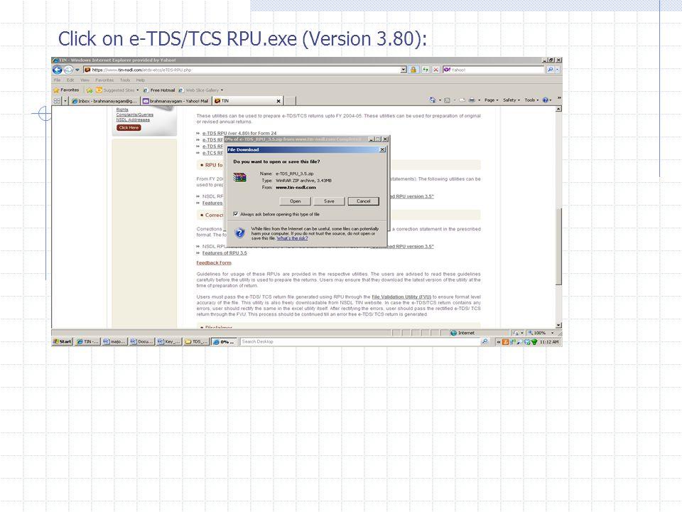 Click on e-TDS/TCS RPU.exe (Version 3.80):