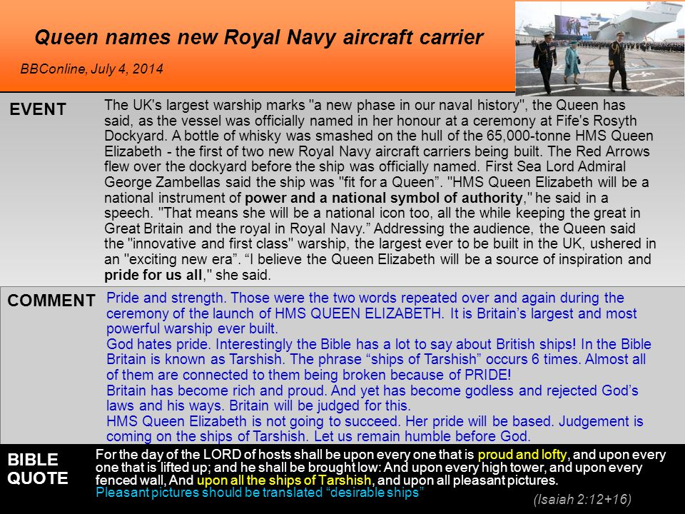 Queen names new Royal Navy aircraft carrier The UK s largest warship marks a new phase in our naval history , the Queen has said, as the vessel was officially named in her honour at a ceremony at Fife s Rosyth Dockyard.