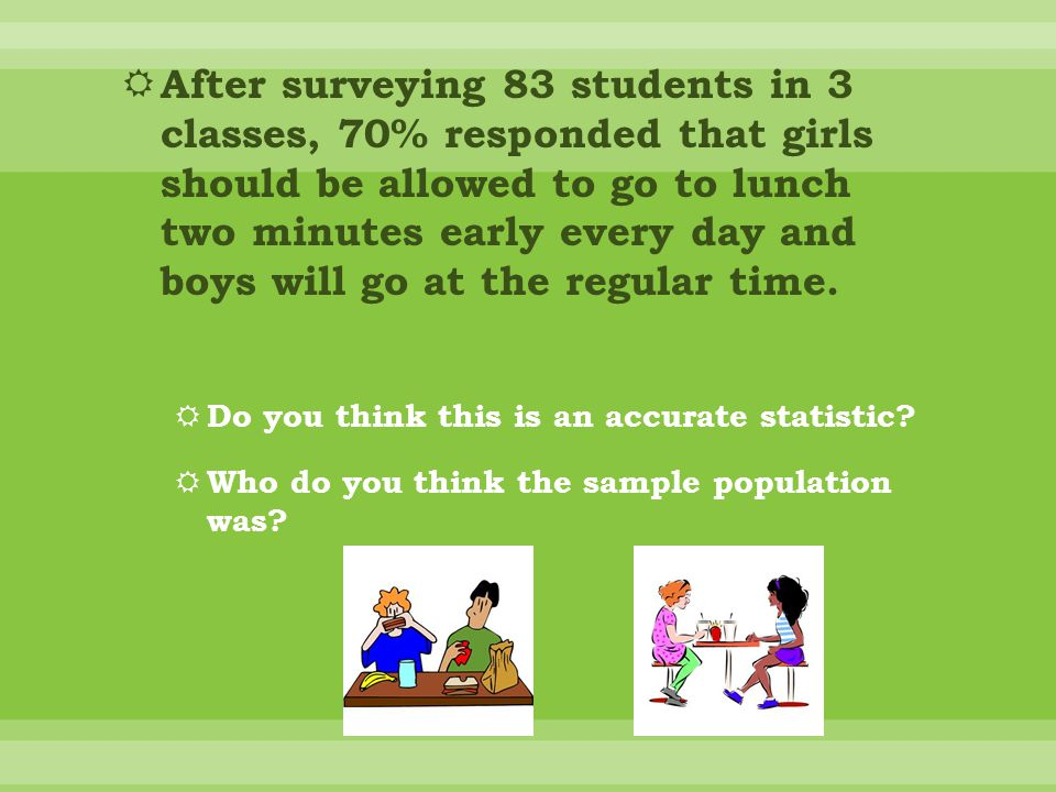  After surveying 83 students in 3 classes, 70% responded that girls should be allowed to go to lunch two minutes early every day and boys will go at