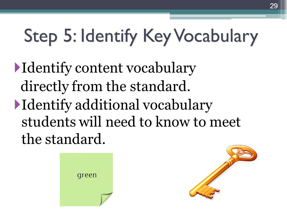 Step 5: Identify Key Vocabulary  Identify content vocabulary directly from the standard.  Identify additional vocabulary students will need to know