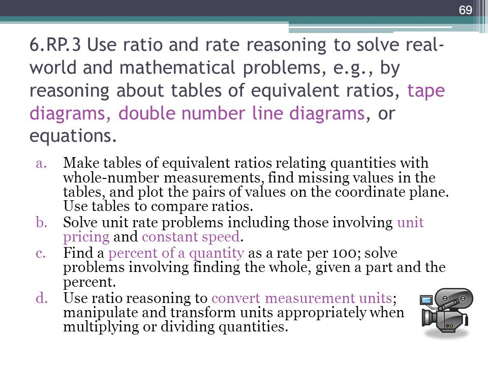 6.RP.3 Use ratio and rate reasoning to solve real- world and mathematical problems, e.g., by reasoning about tables of equivalent ratios, tape diagram