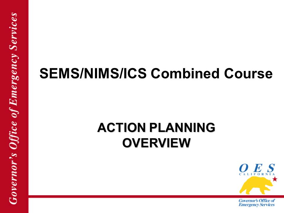 SEMS/NIMS/ICS Combined Course ACTION PLANNING OVERVIEW