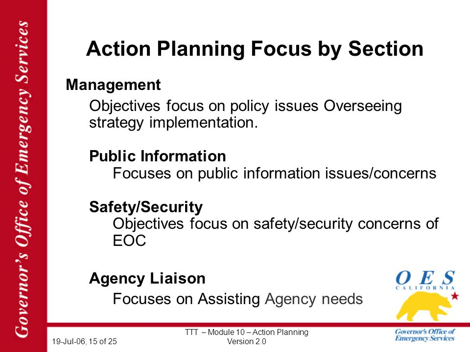 19-Jul-06, 15 of 25 TTT – Module 10 – Action Planning Version 2.0 Action Planning Focus by Section Management Objectives focus on policy issues Overseeing strategy implementation.