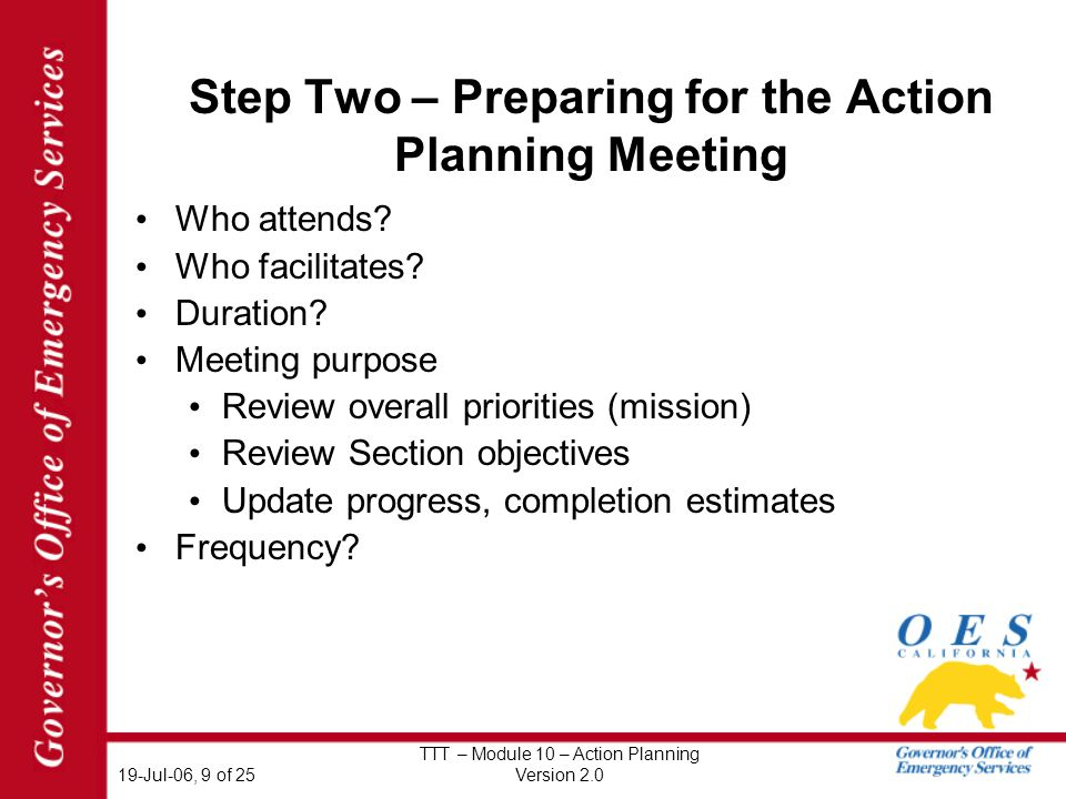 19-Jul-06, 9 of 25 TTT – Module 10 – Action Planning Version 2.0 Step Two – Preparing for the Action Planning Meeting Who attends.