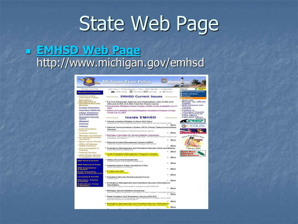 State Web Page EMHSD Web Page http://www.michigan.gov/emhsd EMHSD Web Page http://www.michigan.gov/emhsd EMHSD Web Page EMHSD Web Page