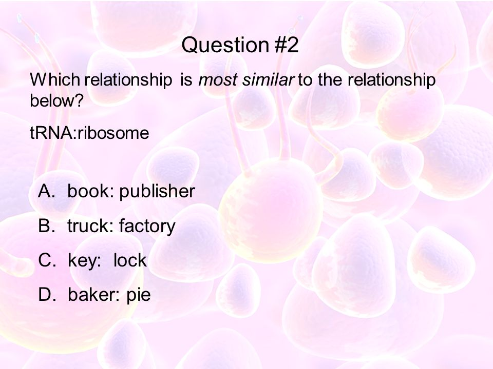 Which relationship is most similar to the relationship below? tRNA:ribosome A. book: publisher B. truck: factory C. key: lock D. baker: pie Question #