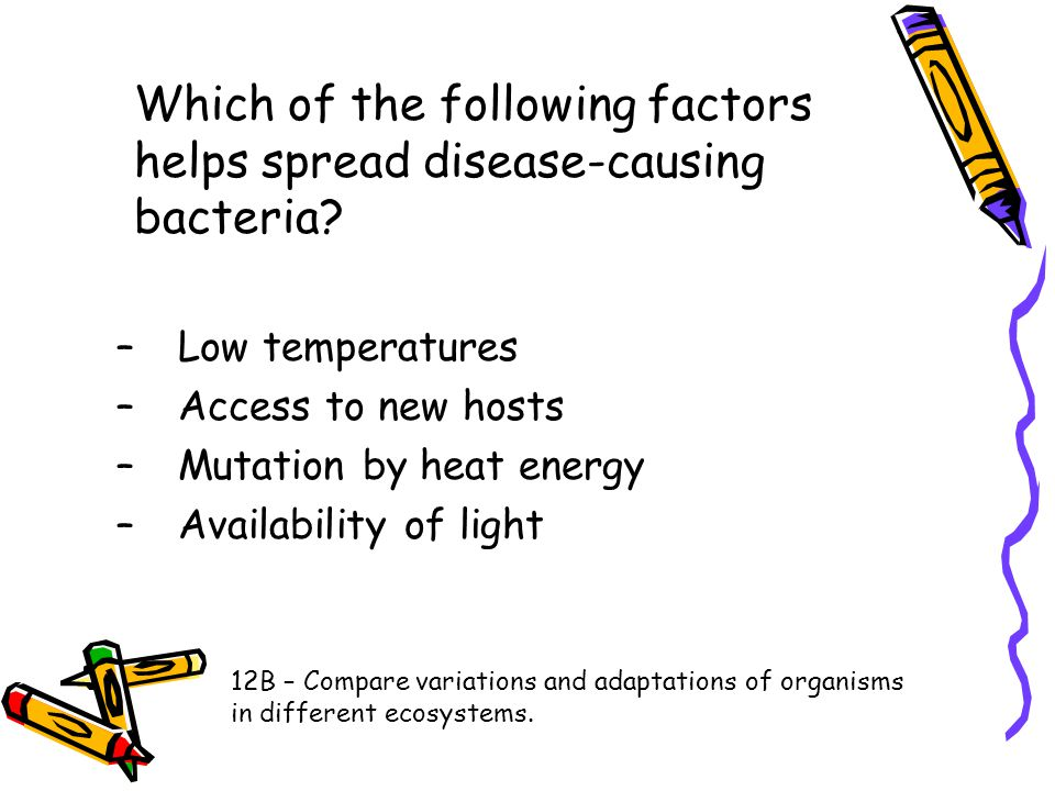 Which of the following factors helps spread disease-causing bacteria? –Low temperatures –Access to new hosts –Mutation by heat energy –Availability of
