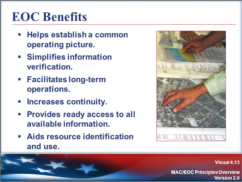 Visual 4.13 MAC/EOC Principles Overview Version 2.0 EOC Benefits  Helps establish a common operating picture.