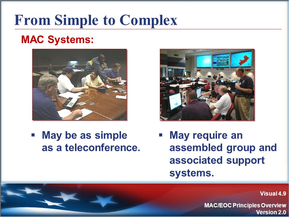 Visual 4.9 MAC/EOC Principles Overview Version 2.0 From Simple to Complex MAC Systems:  May be as simple as a teleconference.