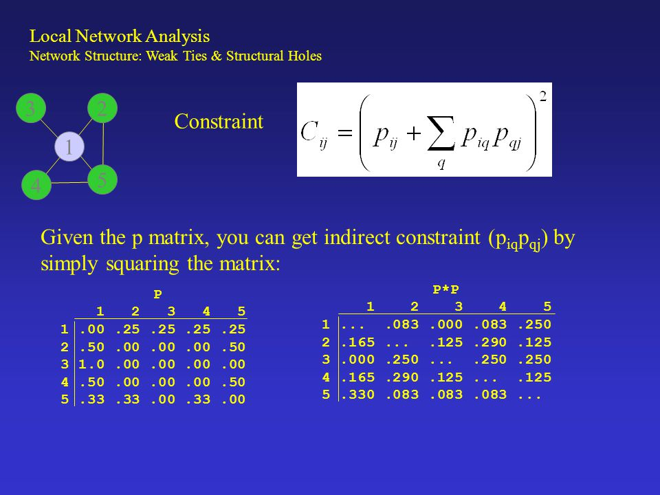 Constraint Given the p matrix, you can get indirect constraint (p iq p qj ) by simply squaring the matrix: P 1 2 3 4 5 1.00.25.25.25.25 2.50.00.00.00.