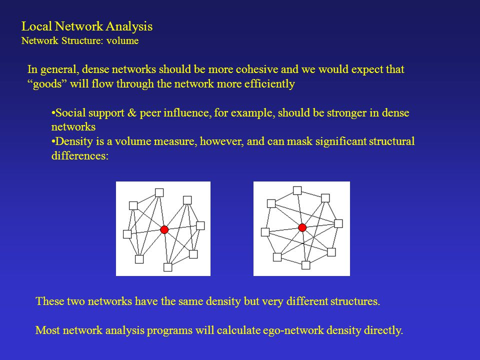 "Local Network Analysis Network Structure: volume In general, dense networks should be more cohesive and we would expect that ""goods"" will flow through"