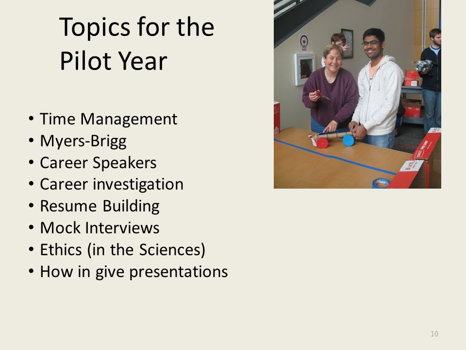 Topics for the Pilot Year Time Management Myers-Brigg Career Speakers Career investigation Resume Building Mock Interviews Ethics (in the Sciences) How in give presentations 10