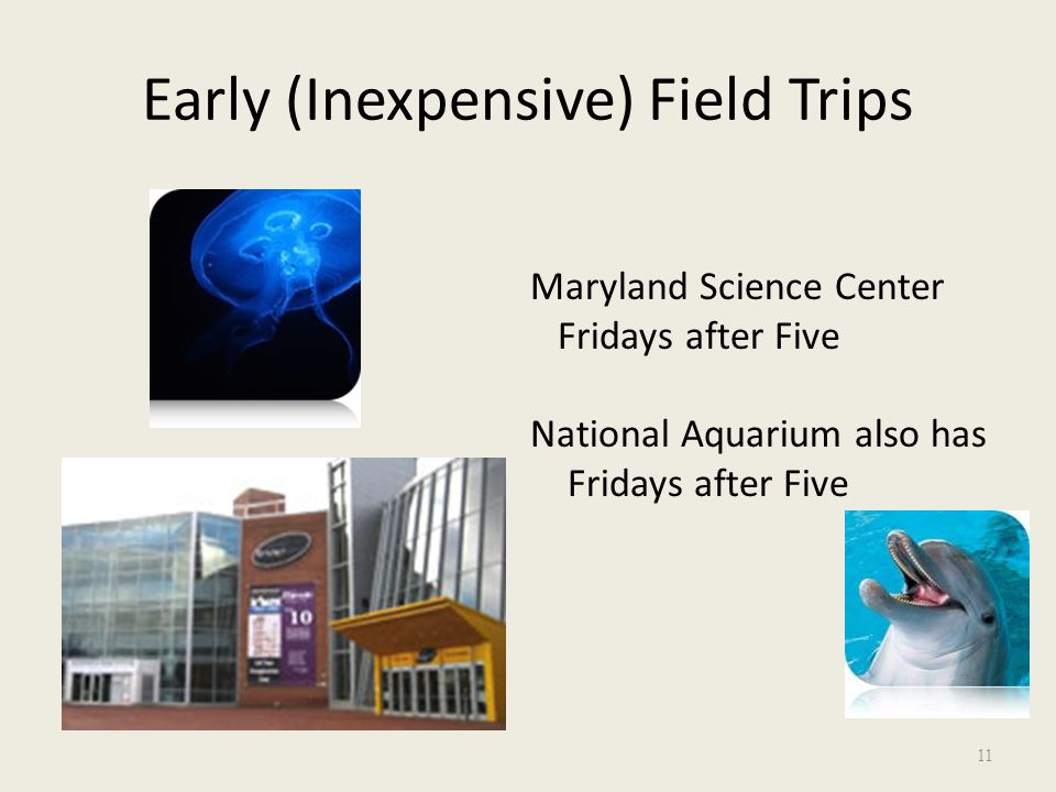 Early (Inexpensive) Field Trips Maryland Science Center Fridays after Five National Aquarium also has Fridays after Five 11