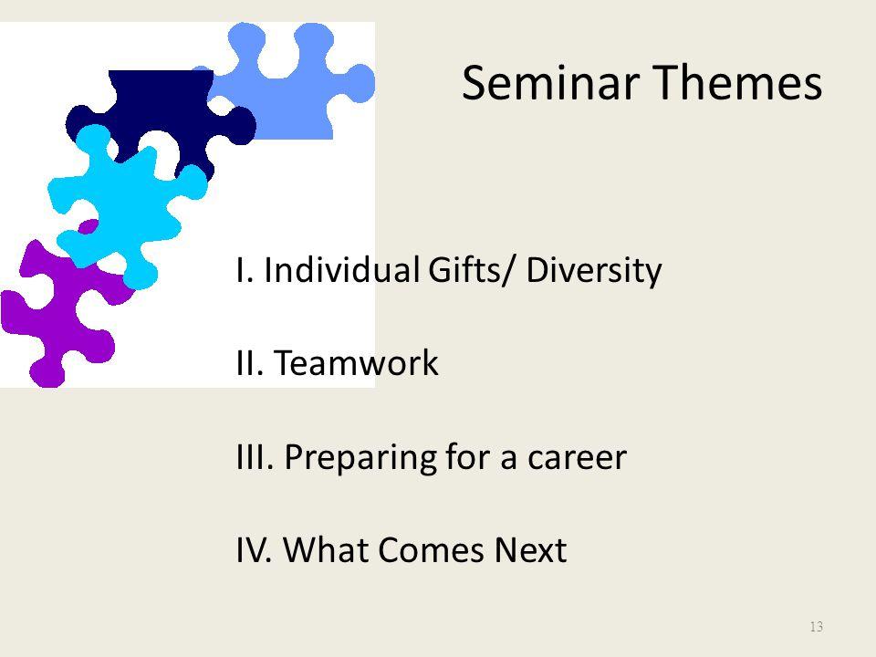 Seminar Themes I. Individual Gifts/ Diversity II.