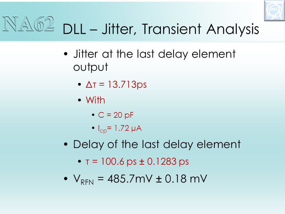 DLL – Jitter, Transient Analysis Jitter at the last delay element output Δτ = 13.713ps With C = 20 pF I cp = 1.72 µA Delay of the last delay element τ = 100.6 ps ± 0.1283 ps V RFN = 485.7mV ± 0.18 mV