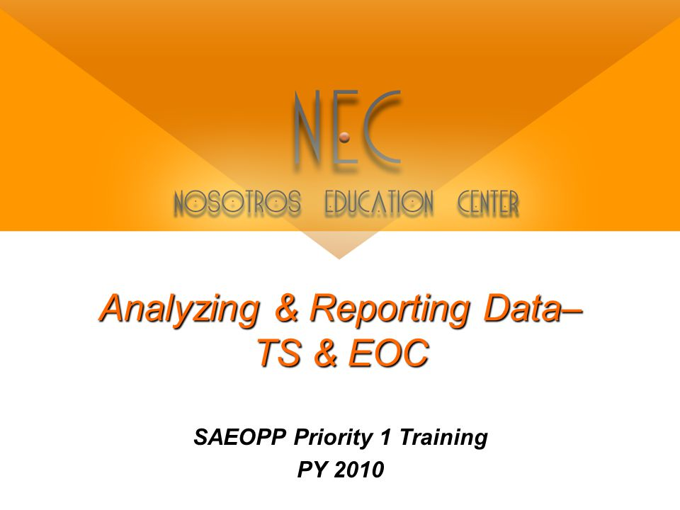 Analyzing & Reporting Data– TS & EOC SAEOPP Priority 1 Training PY 2010