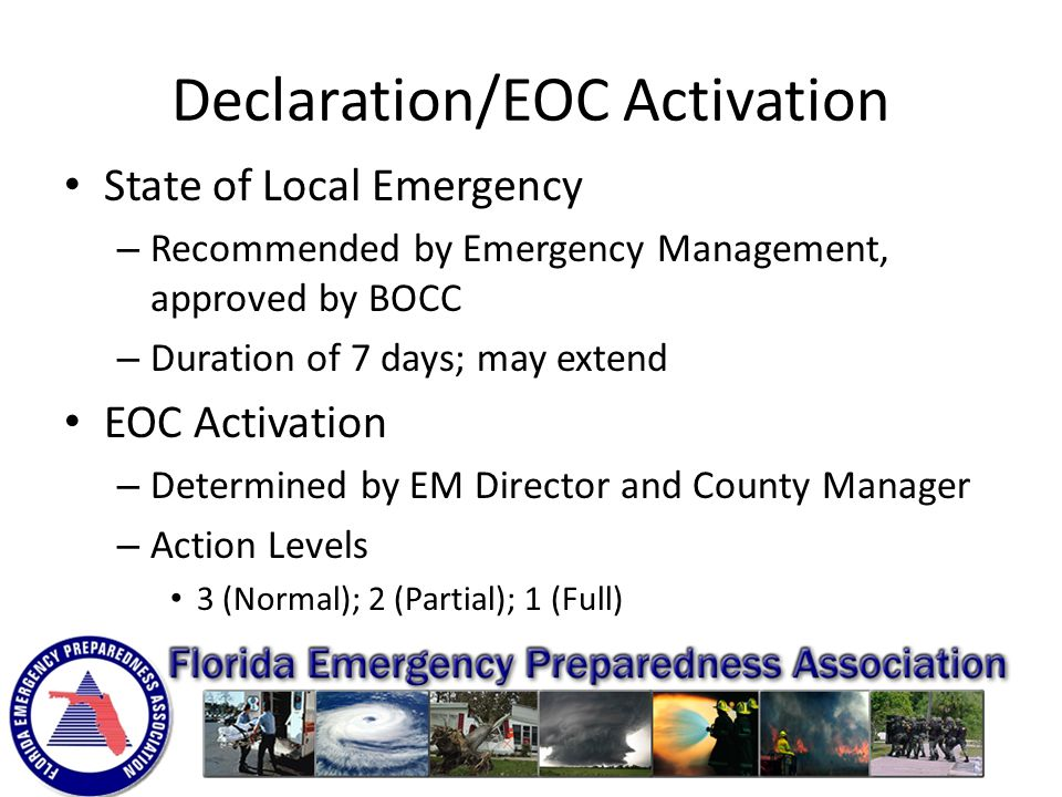 Lee County EOC Opened March 2013 Building - 29,292 sq ft (4,200 sq ft Sit Room) Elevated 10 ft above grade (31 ft) 200 mph wind design 7 day independent operation – Three 1,250 KW generators (36,000 gallons fuel) – 14,000 gallons of potable water