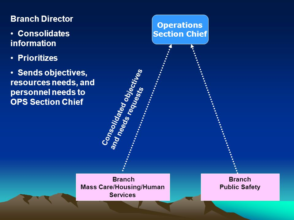Branch Mass Care/Housing/Human Services Branch Public Safety Consolidated objectives and needs requests Branch Director Consolidates information Prior