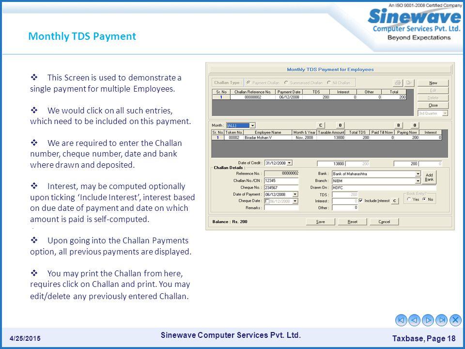 Sinewave Computer Services Pvt.Ltd. Taxbase, Page 18 4/25/2015.