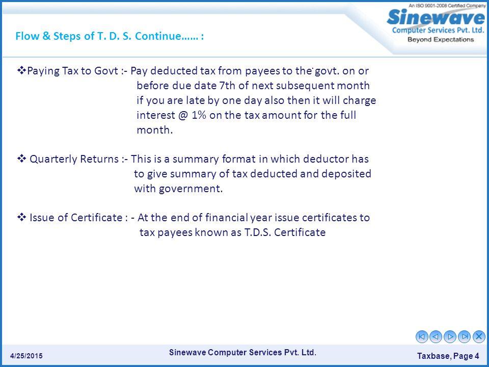 Sinewave Computer Services Pvt.Ltd. Taxbase, Page 4 4/25/2015.