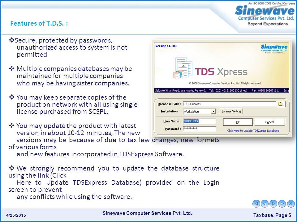 Sinewave Computer Services Pvt.Ltd. Taxbase, Page 5 4/25/2015.