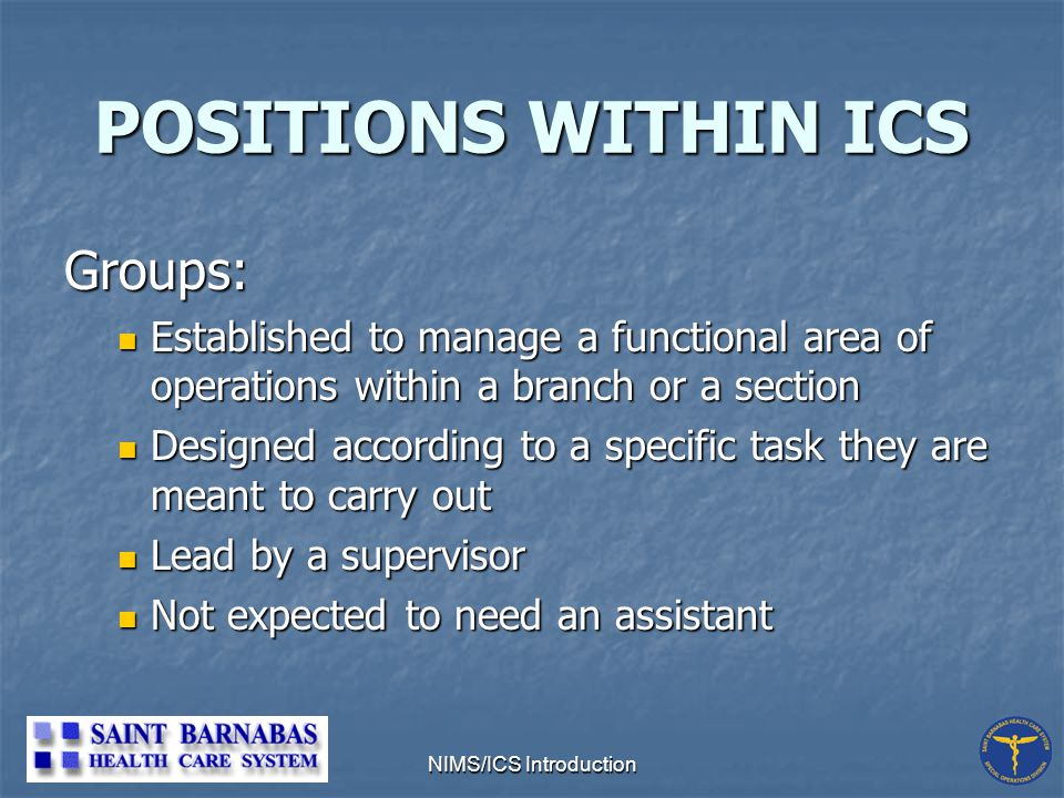 NIMS/ICS Introduction POSITIONS WITHIN ICS Groups: Established to manage a functional area of operations within a branch or a section Established to manage a functional area of operations within a branch or a section Designed according to a specific task they are meant to carry out Designed according to a specific task they are meant to carry out Lead by a supervisor Lead by a supervisor Not expected to need an assistant Not expected to need an assistant