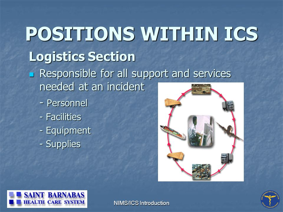 NIMS/ICS Introduction POSITIONS WITHIN ICS Logistics Section Responsible for all support and services needed at an incident Responsible for all support and services needed at an incident - Personnel - Facilities - Equipment - Supplies