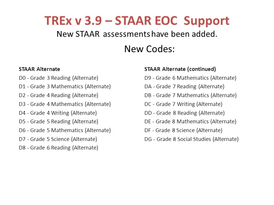 TREx v 3.9 – STAAR EOC Support New STAAR assessments have been added.