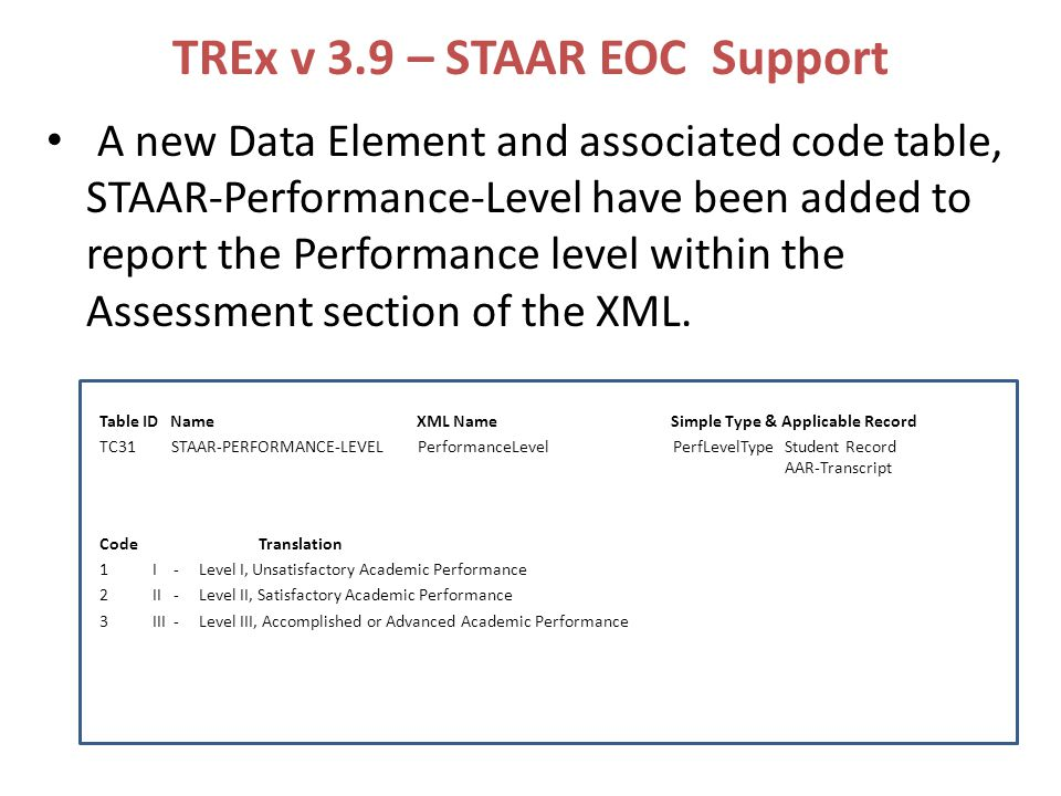 TREx v 3.9 – STAAR EOC Support A new Data Element and associated code table, STAAR-Performance-Level have been added to report the Performance level within the Assessment section of the XML.