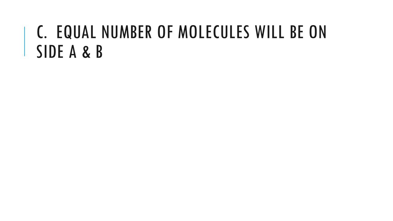 C. EQUAL NUMBER OF MOLECULES WILL BE ON SIDE A & B