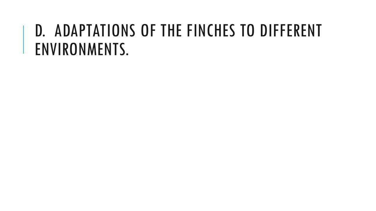 D. ADAPTATIONS OF THE FINCHES TO DIFFERENT ENVIRONMENTS.
