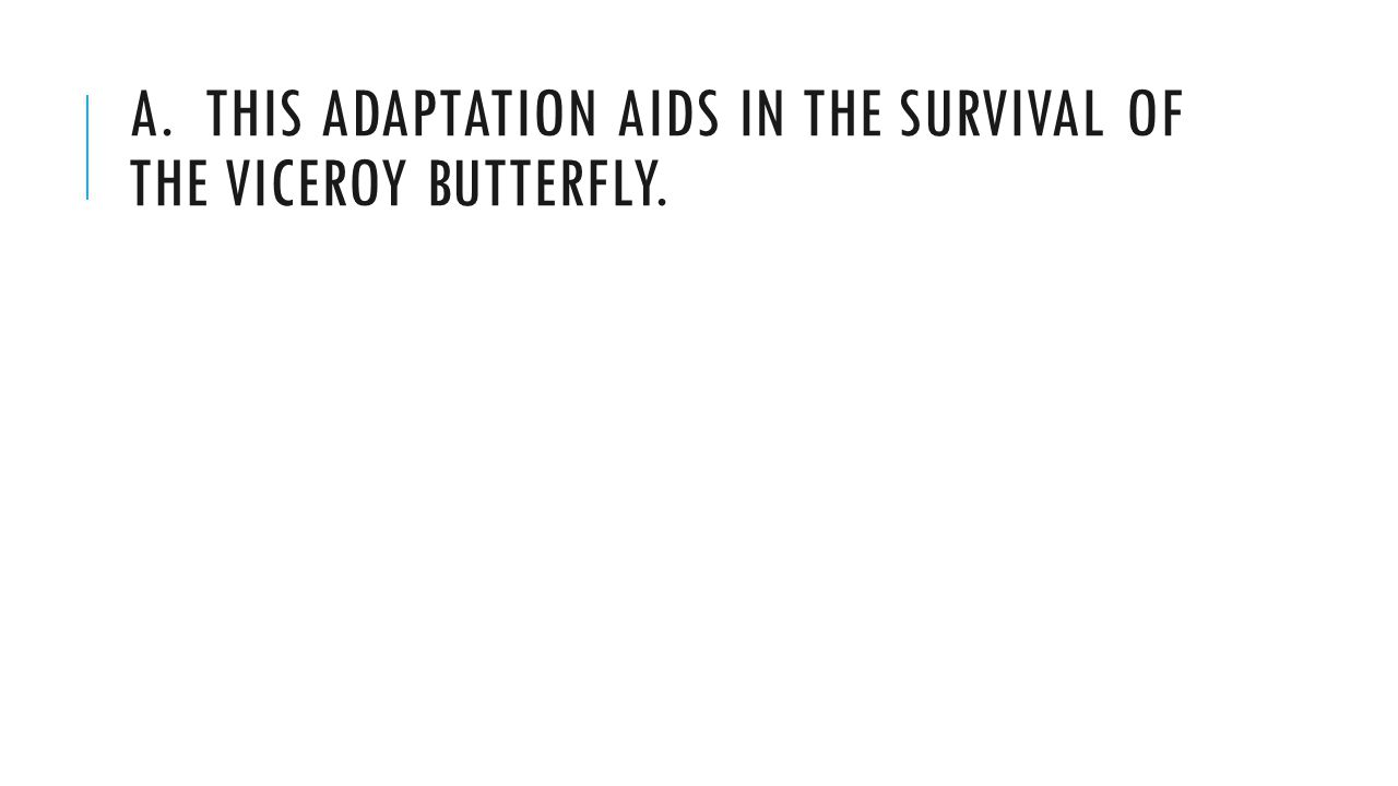 A. THIS ADAPTATION AIDS IN THE SURVIVAL OF THE VICEROY BUTTERFLY.