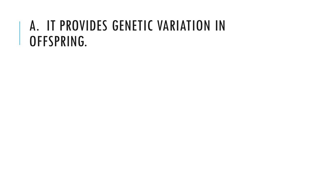 A. IT PROVIDES GENETIC VARIATION IN OFFSPRING.