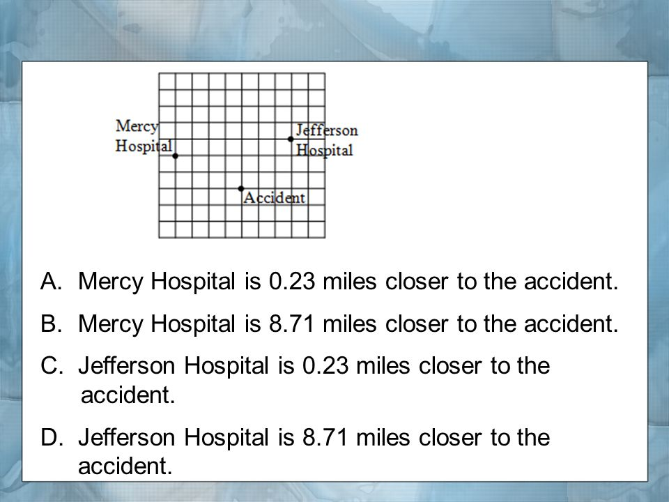 A.Mercy Hospital is 0.23 miles closer to the accident.