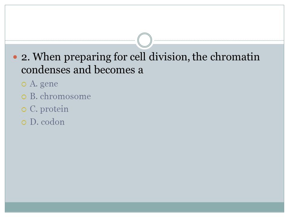 1. Chromosomes line up on spindles in the center of a cell during  A. anaphase  B. telophase  C. prophase  D. metaphase