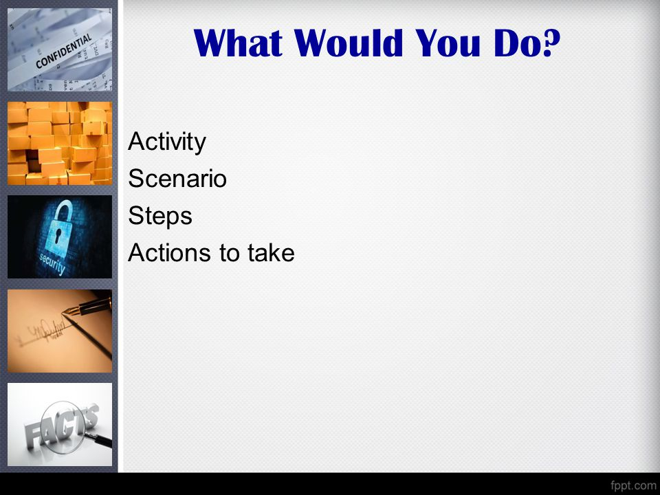 What Would You Do? Activity Scenario Steps Actions to take