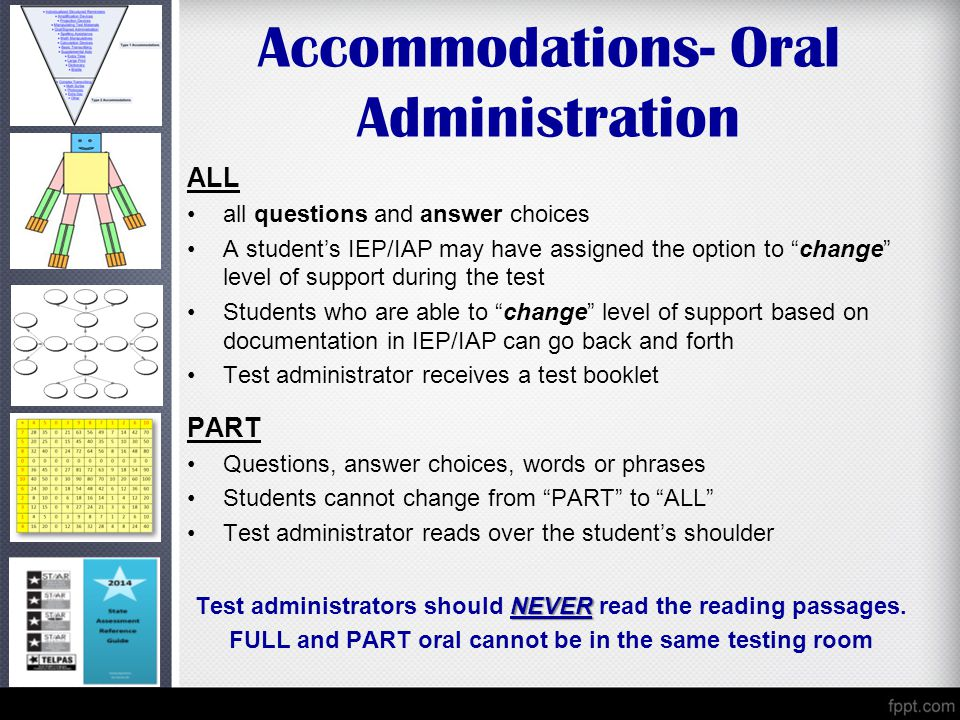Accommodations- Oral Administration ALL all questions and answer choices A student's IEP/IAP may have assigned the option to change level of support during the test Students who are able to change level of support based on documentation in IEP/IAP can go back and forth Test administrator receives a test booklet PART Questions, answer choices, words or phrases Students cannot change from PART to ALL Test administrator reads over the student's shoulder NEVER Test administrators should NEVER read the reading passages.
