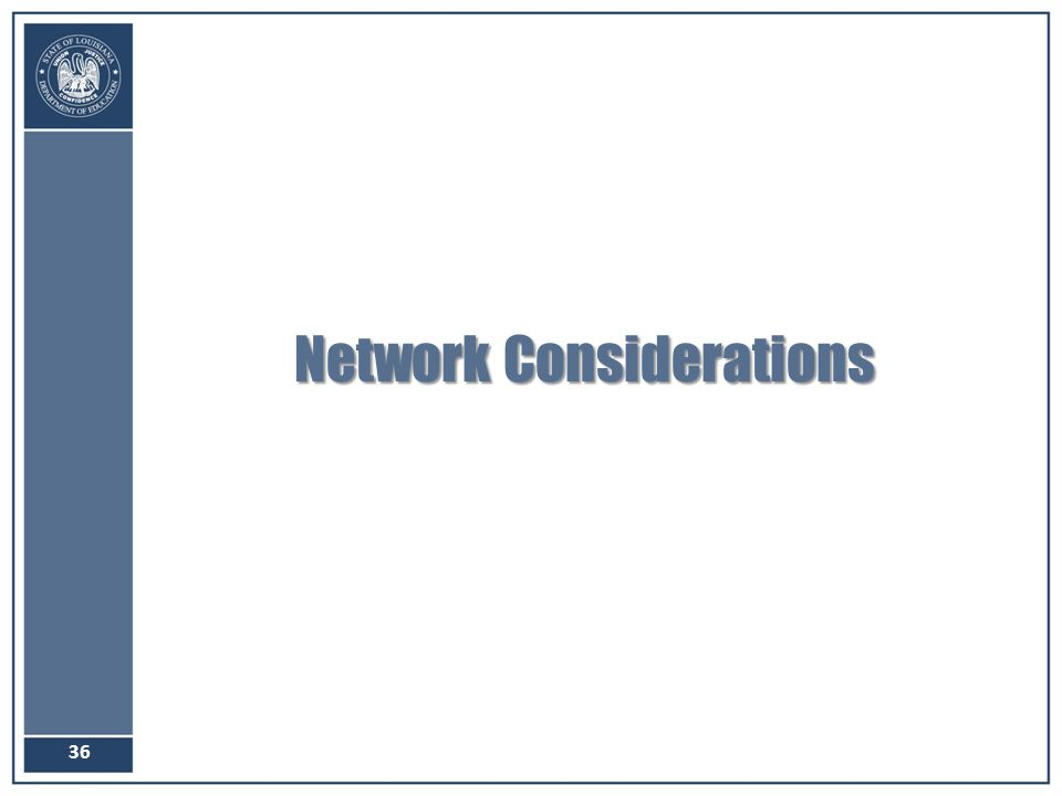 Network Considerations 36